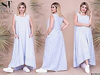 Платье летнее в комбинированную полоску хлопок Большого размера Голубой