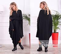 Платье женское трикотажное с асимметричным подолом Большого размера Черный