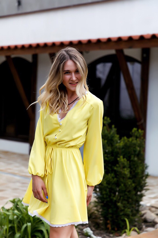 Платье  женское    С,М,Л  Цвет-  малина, желтый
