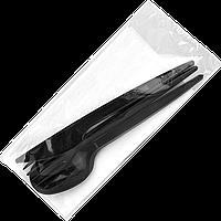 Одноразовый набор, Черный (вилка, нож, ложка, салфетка барная) 25шт