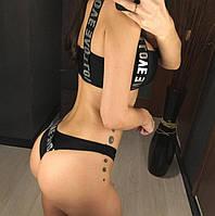 Модный черный раздельный женский купальник, на шнуровке, трусы бразилиана, размер M, новинка сезона