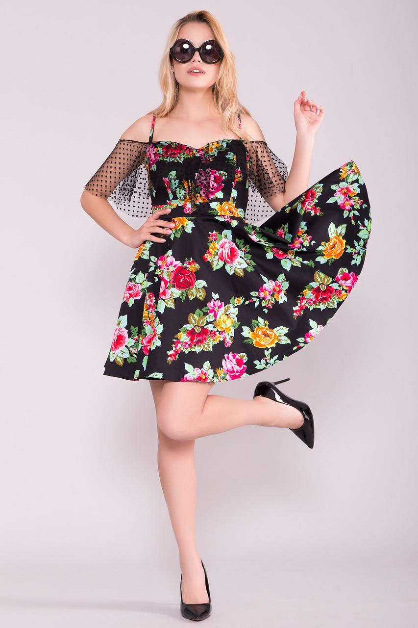 9cd4017702d3e90 Женское летнее платье с цветочным принтом, чёрное, повседневное,  молодёжное, нарядное, праздничное