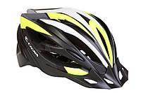 Шлем велосипедный с козырьком СIGNA WT-068 L (58-61см) (черно-бело-салатный)