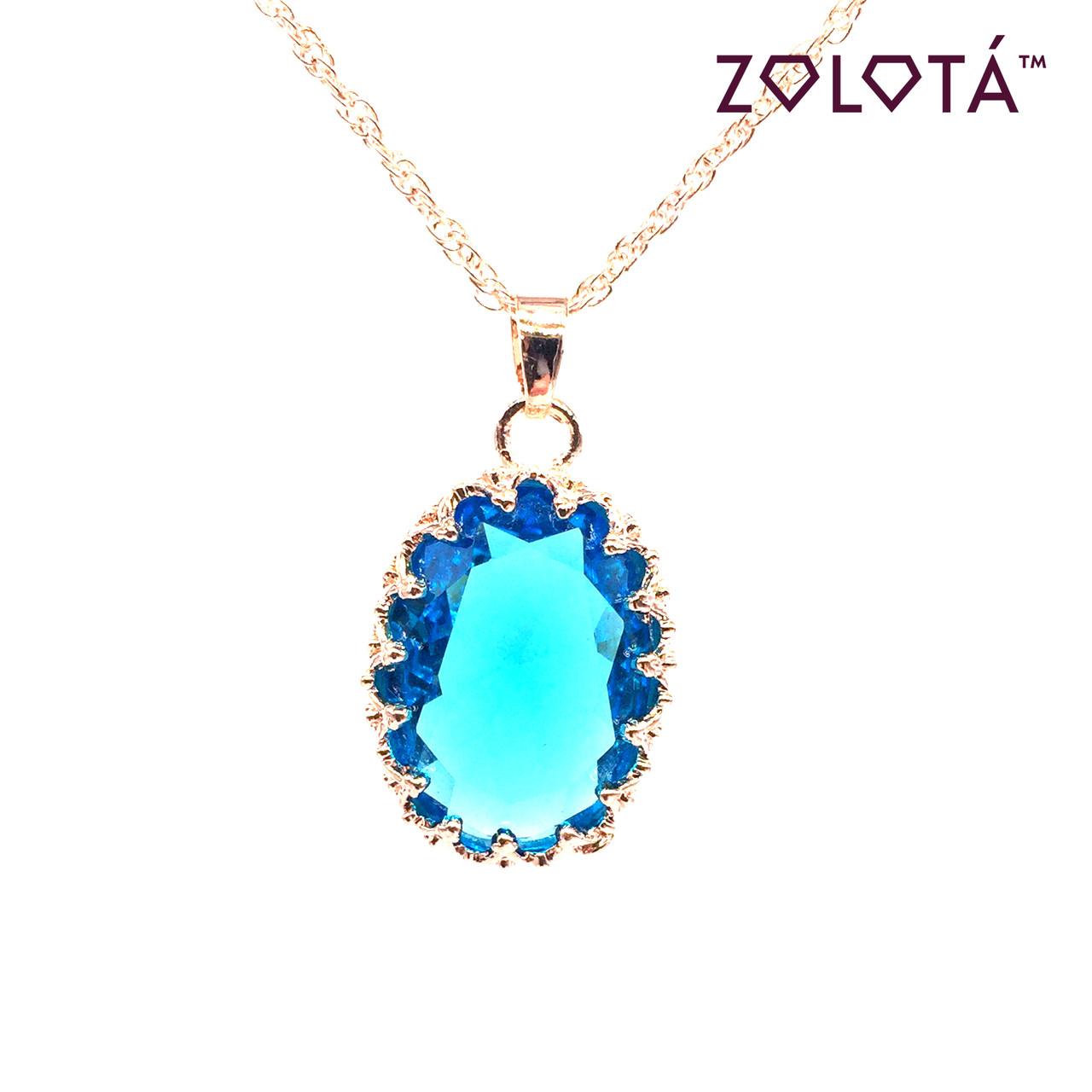 Подвеска на цепочке с голубым фианитом (куб. цирконием), из медицинского золота, в позолоте, ЗЛ00325 (1)