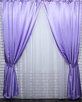 Комплект готовых штор из атласа. Цвет сиреневый №34