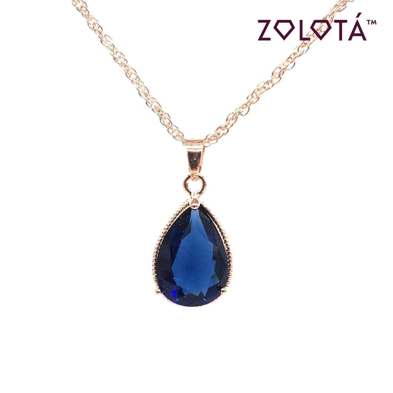 Підвіска на ланцюжку з синім фианитом (куб. цирконієм), з медичного золота, в позолоті, ЗЛ00335 (1)