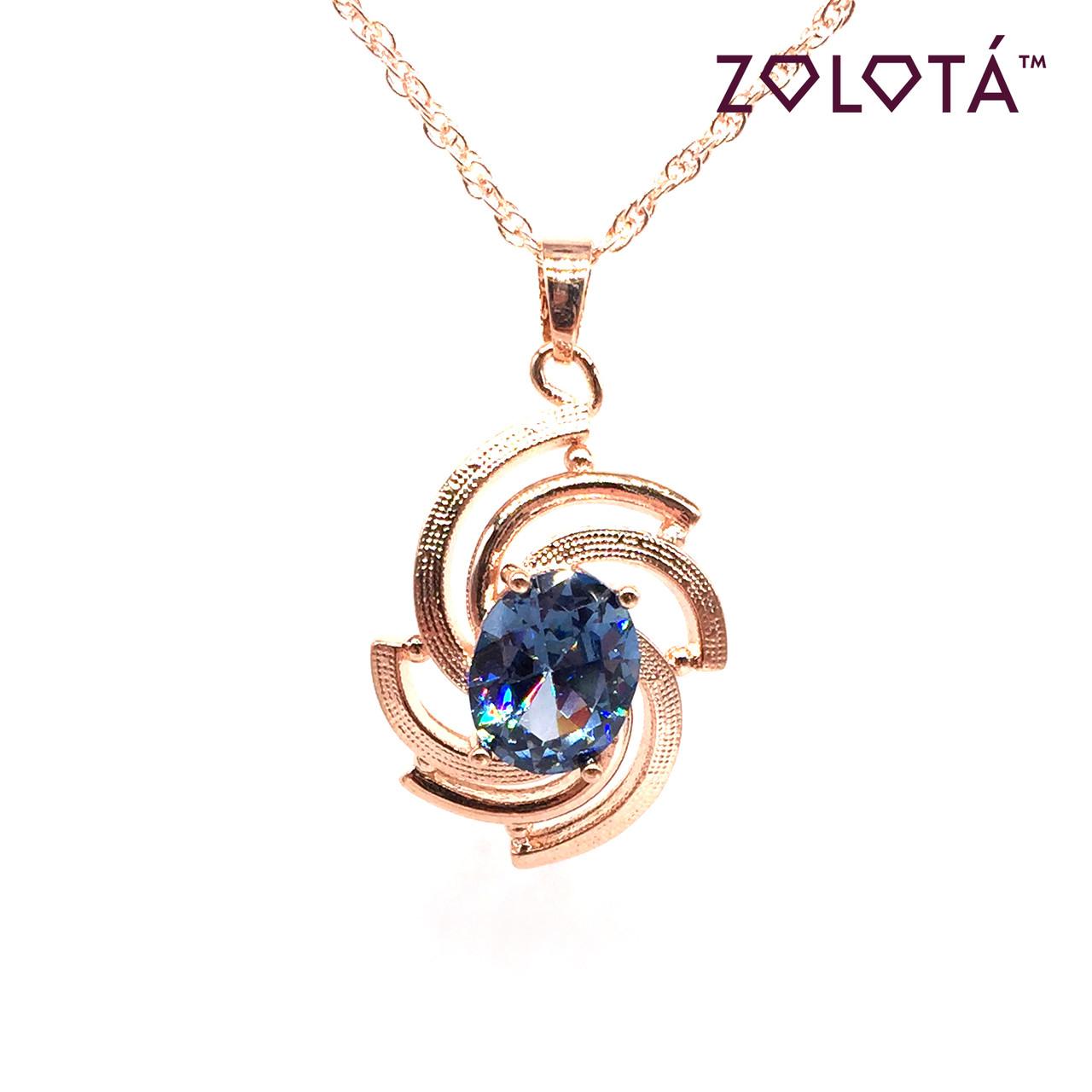 Підвіска на ланцюжку з світло-синім фианитом (куб. цирконієм), з медичного золота, в позолоті, ЗЛ00332 (1)