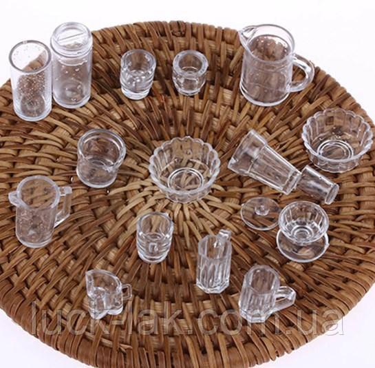Набор прозрачной посуды для куклы, 12 предметов
