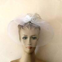Шляпка белая с вуалью