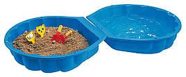 Детская песочница бассейн Ракушка с крышкой 2 в 1 Sand Wassermuschel blau Big 7711