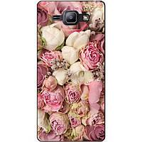 Cиликоновый чехол бампер с рисунком для Samsung Galaxy J1 J100 Розовые пионы