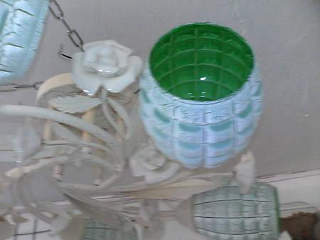 Люстра, 5 ламп, зеленые плафоны, белая, фото 2