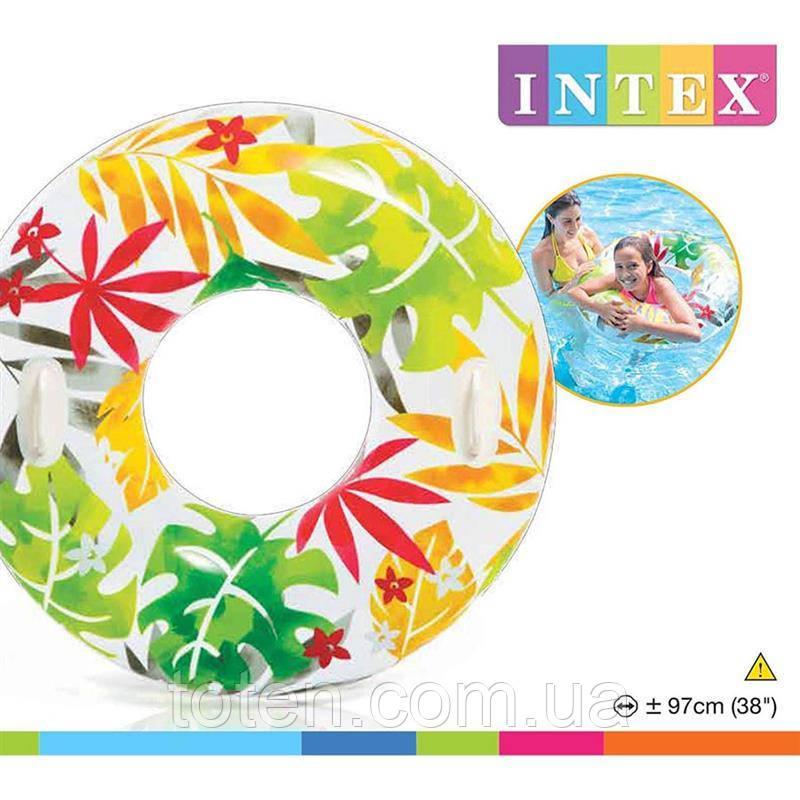 Надувний круг з ручками Intex 58263, 3 види Діаметр 97см