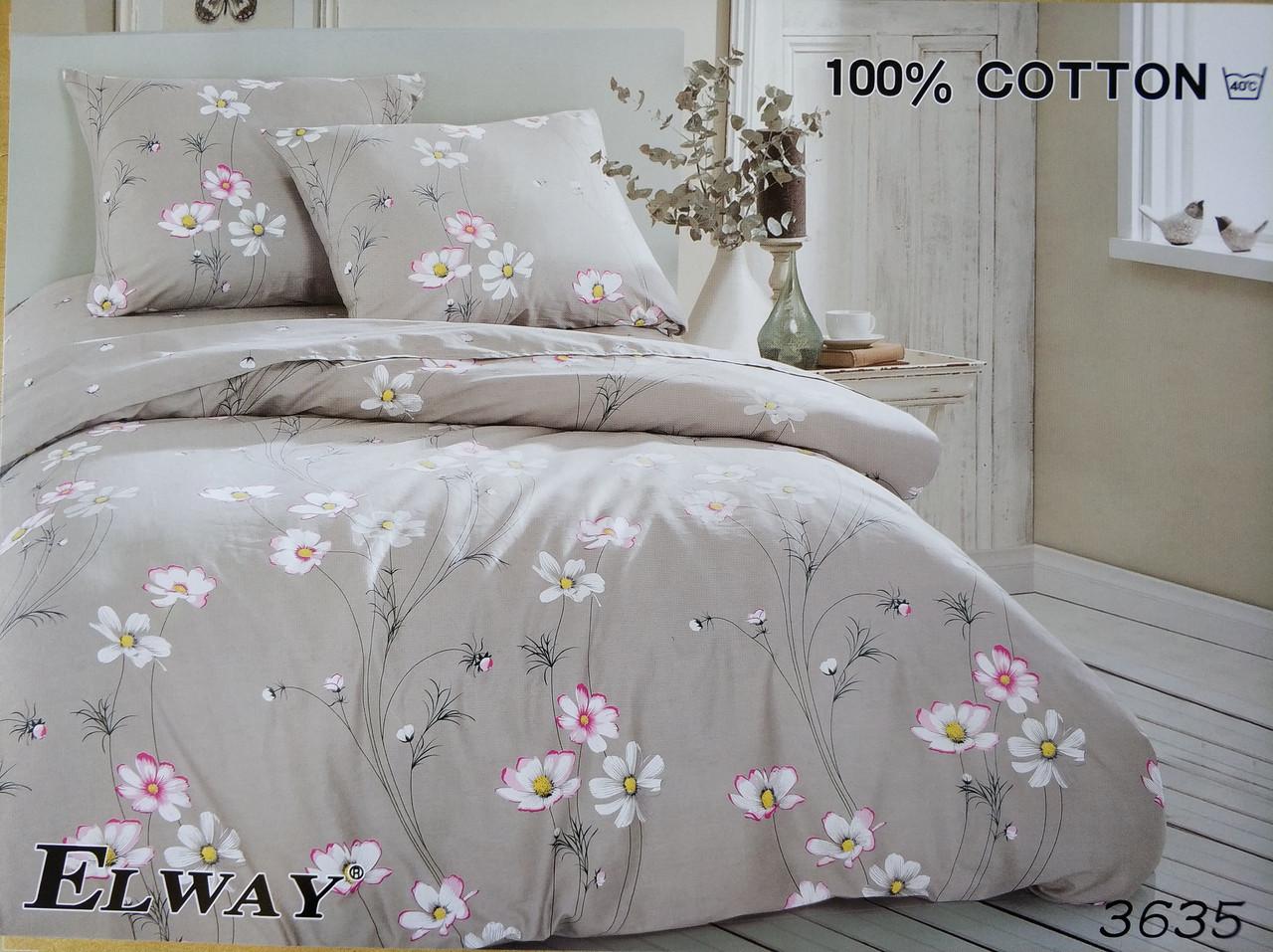 Сатиновое постельное белье евро ELWAY 3635 «Полевые ромашки»