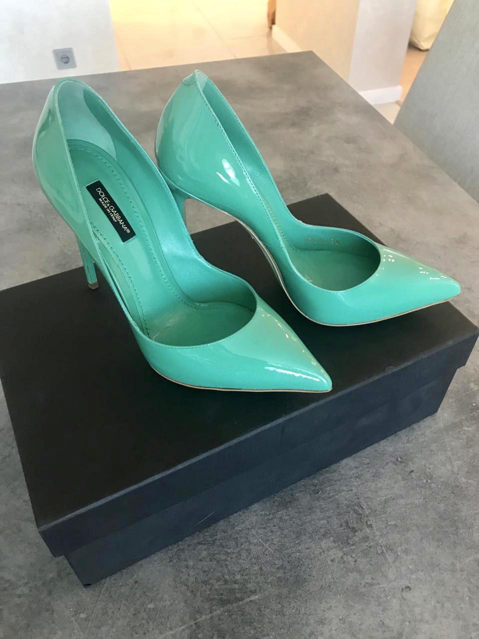 Туфли Dolce&Gabbana лодочки зеленые женские .