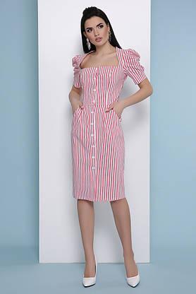 Летнее платье-миди в полоску красное, фото 2
