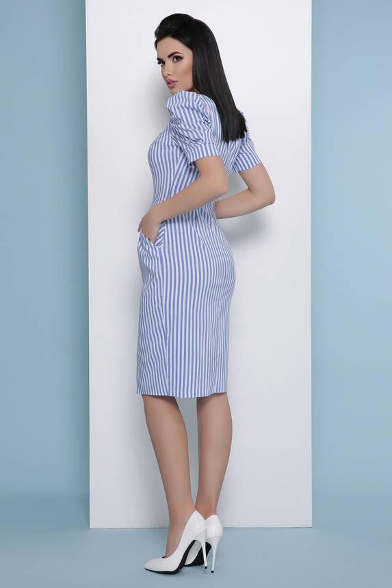 Летнее платье-миди в полоску синее, фото 2
