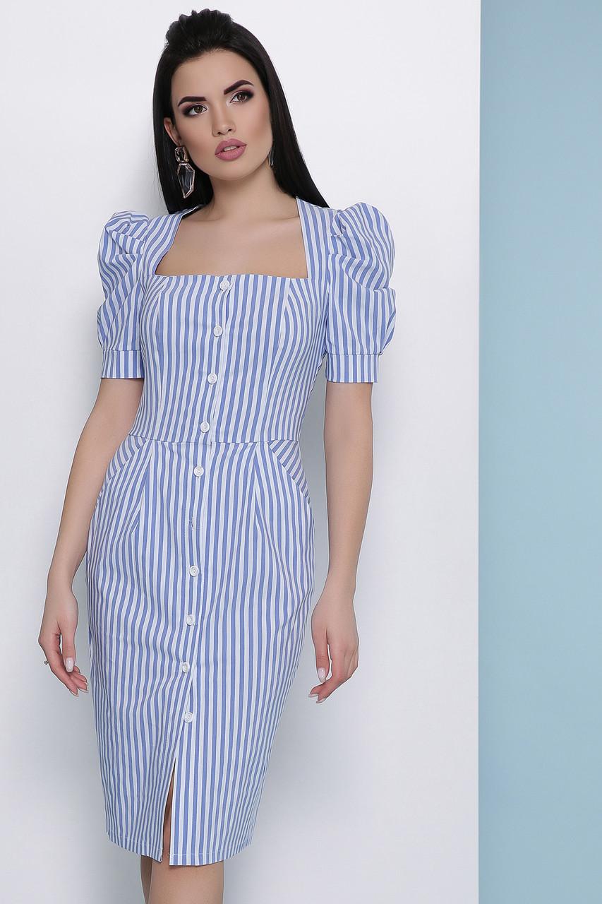 Летнее платье-миди в полоску синее