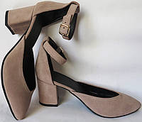 Стильні та зручні жіночі замшеві туфлі Limoda з натуральної замші бежеві босоніжки на підборах 6 см каблук