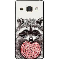 Чехол силиконовый бампер для Samsung J120 Galaxy J1-2016 с рисунком Енот