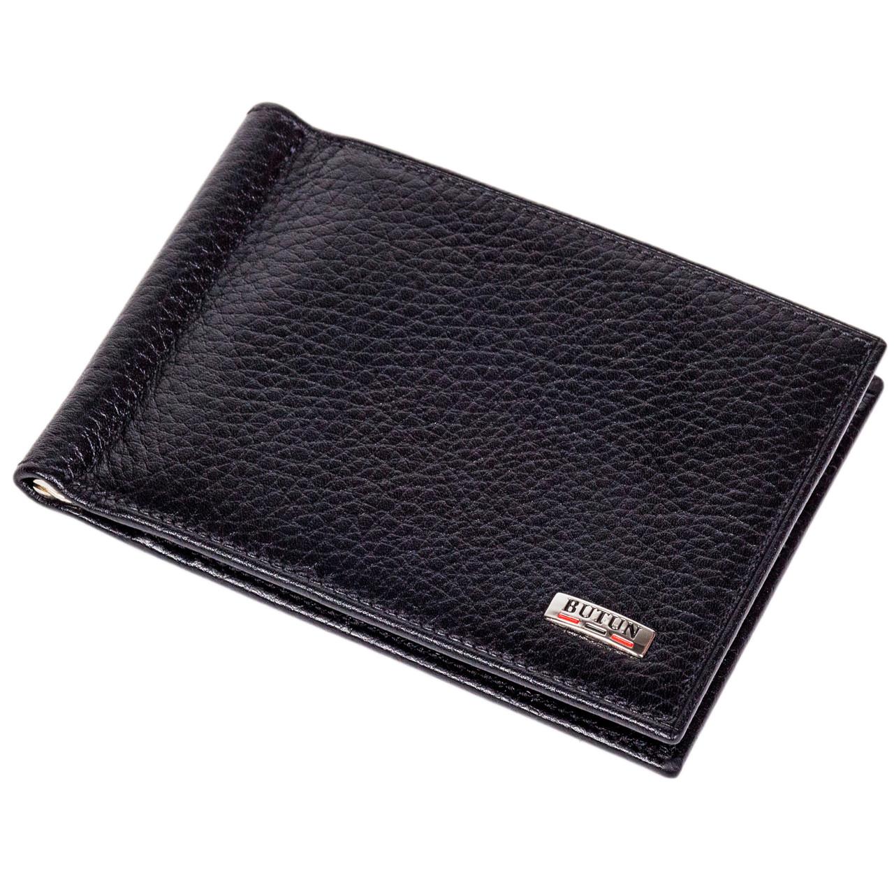 Зажим для денег Butun 250-004-001 кожаный черный
