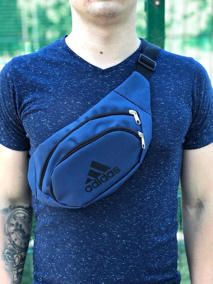 Мужская/женская сумка бананка Adidas темно-синяя