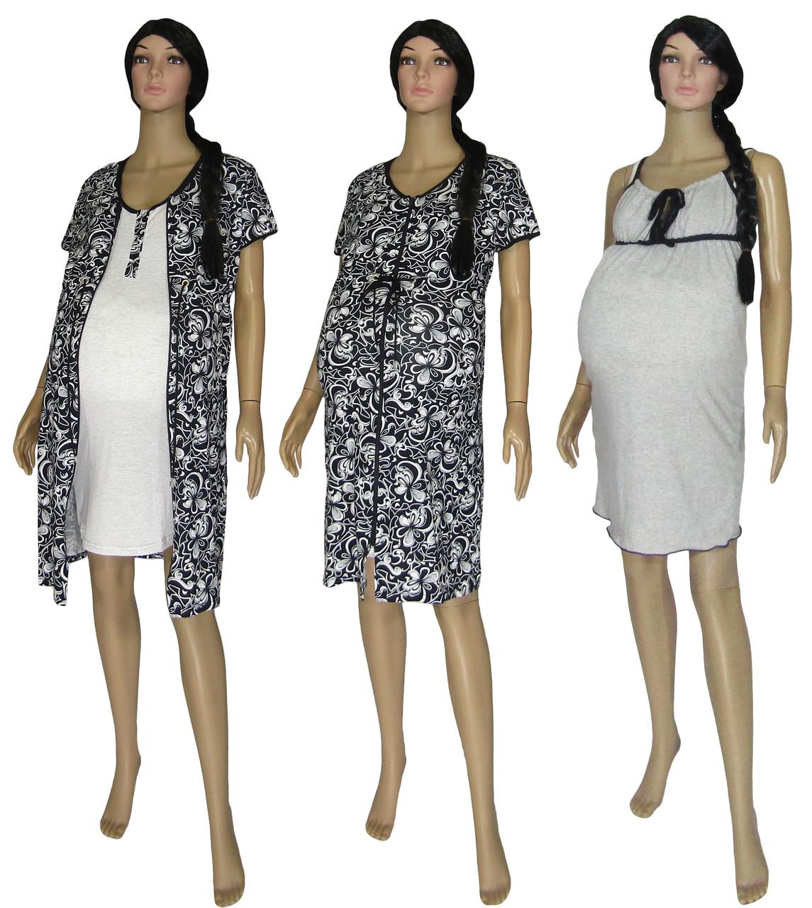 Комплект в роддом 18029-1 Patterns Present Black для беременных и кормящих 2 предмета + 1 (подарок)