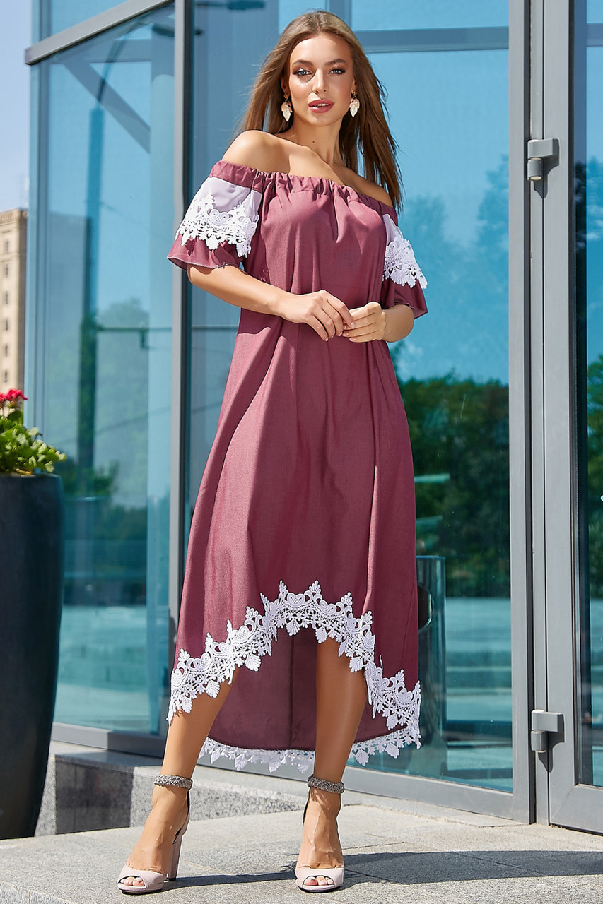 2ae2d2567ba3213 Женское летнее платье с кружевом, марсала, повседневное,  молодёжное,асимметричное,нарядное,с открытыми плечами