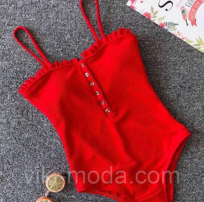 Совместный женский купальник, красного цвета