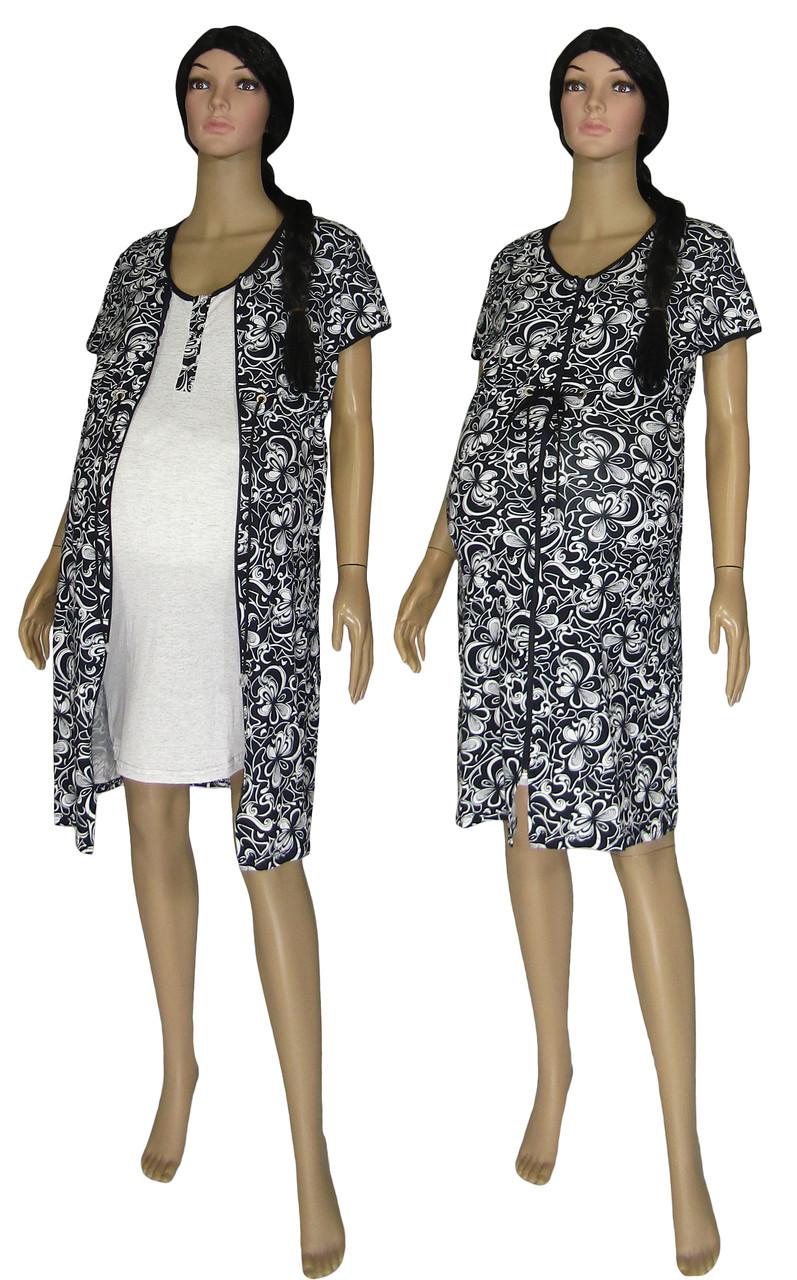 0b657029c475 Комплект с халатом 18029-1 Patterns Present Black для беременных, кормящих  2 предмета + ...