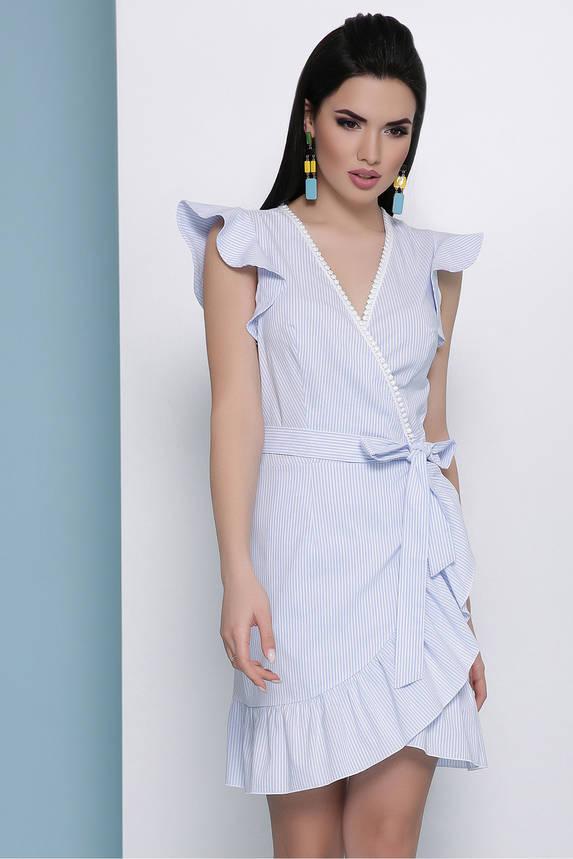 Летнее платье на запах короткое в полоску голубое, фото 2