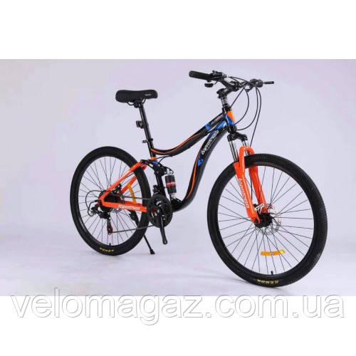 """Велосипед спортивный двухподвесной TopRider-910 24"""" синий"""