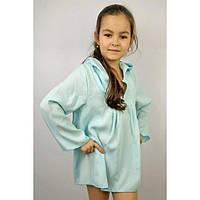 Туника пляжная голубая (116 - 128) - пляжная одежда для детей, туники, панамы, рубашки