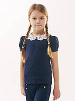 Синяя блузка с коротким рукавом, воротник натуральное кружево, размер 116, 164
