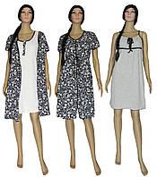 Комплект женский 18029-1 Patterns Present Black, ночная рубашка и платье халат + ночная (подарок), р.р.42-56 46-48