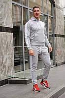 Спортивный костюм мужской весна-лето-осень (серая худи с лампасами +серые штаны с лампасами)