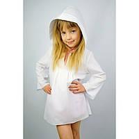 Туника с капюшоном белая (140 - 152) - пляжная одежда для детей, туники, панамы, рубашки