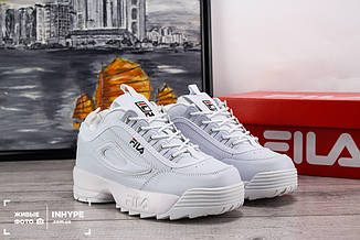 Женские кроссовки Fila Disruptor 2 (ФилаДизраптор 2) - подростковые, белые, с логотипом, реплика