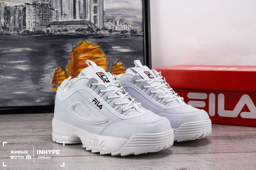 1e1df16c Женские кроссовки Fila Disruptor 2 (Фила Дизраптор 2) - подростковые,  белые, с логотипом, реплика