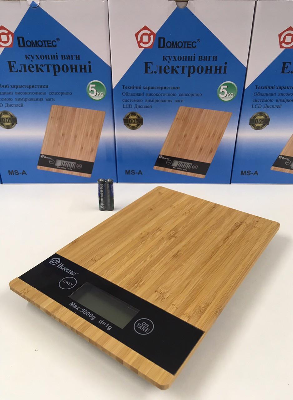 Весы кухонные деревянные Domotec MS-A (5 кг) + батарейки