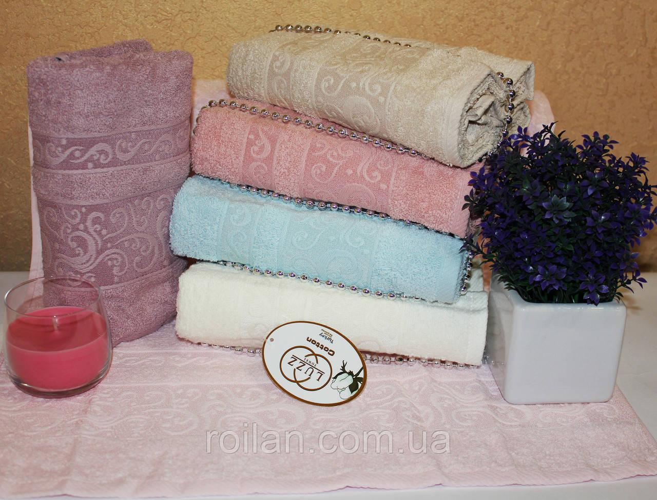 Метровые турецкие полотенца Luzz Однотонный вензель