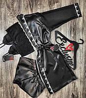 Халат+топ+шорты комплект домашней одежды.