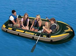 Чотиримісний надувний човен Intex + алюмінієві весла і ручний насос SeaHawk 4 Set 351x145x48 cм