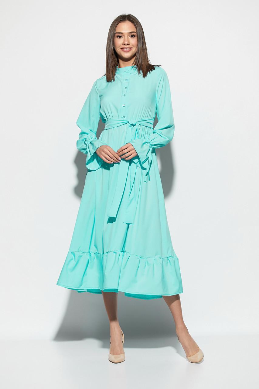 b4a66e6d345b357 Женское нарядное платье с воланом, мятное, молодёжное, летнее, миди,  праздничное,