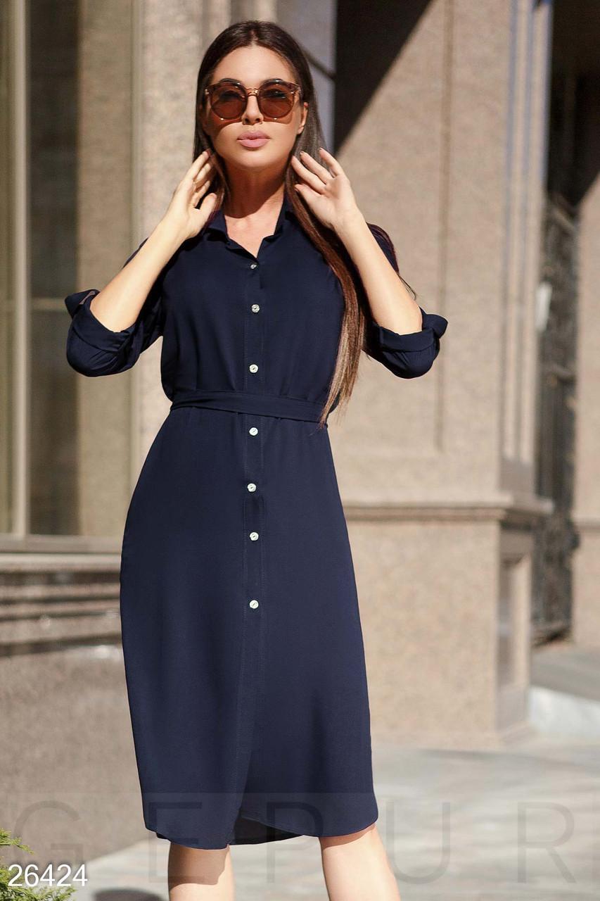 Легкое платье - рубашка свободного кроя,темно-синее S-M L-XL