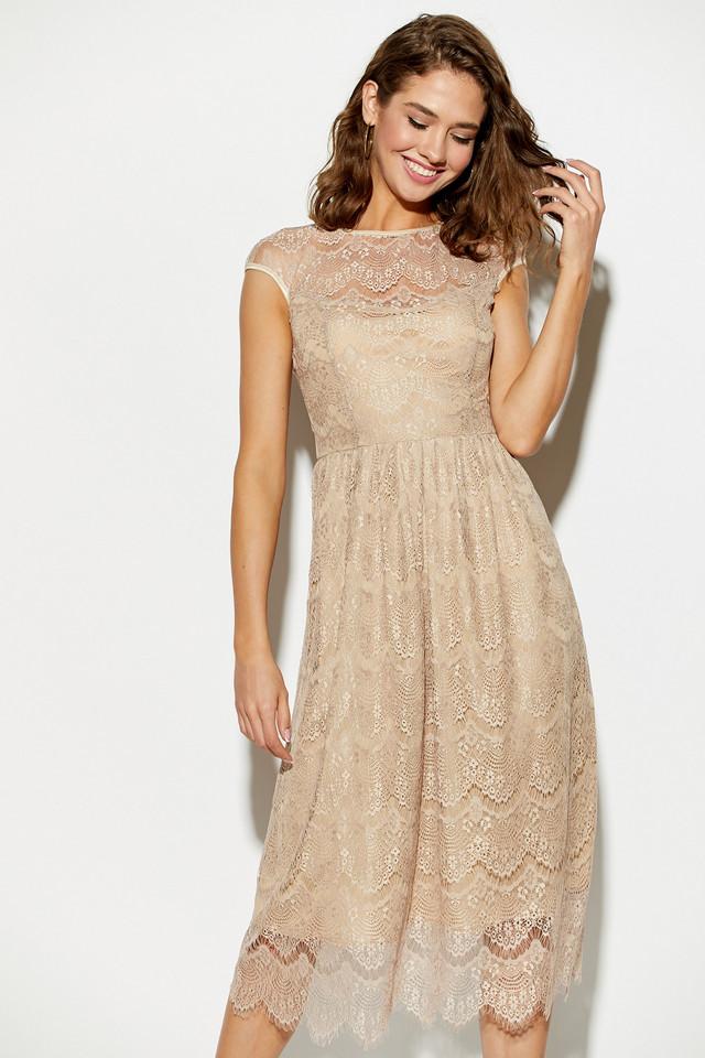 Жіноче літнє плаття нарядне гіпюрову, бежеве, молодіжне, міді, святкове, елегантне