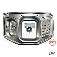 Мойка для кухни из нержавейки с крылом Rampa 1.5C Satin (9673)