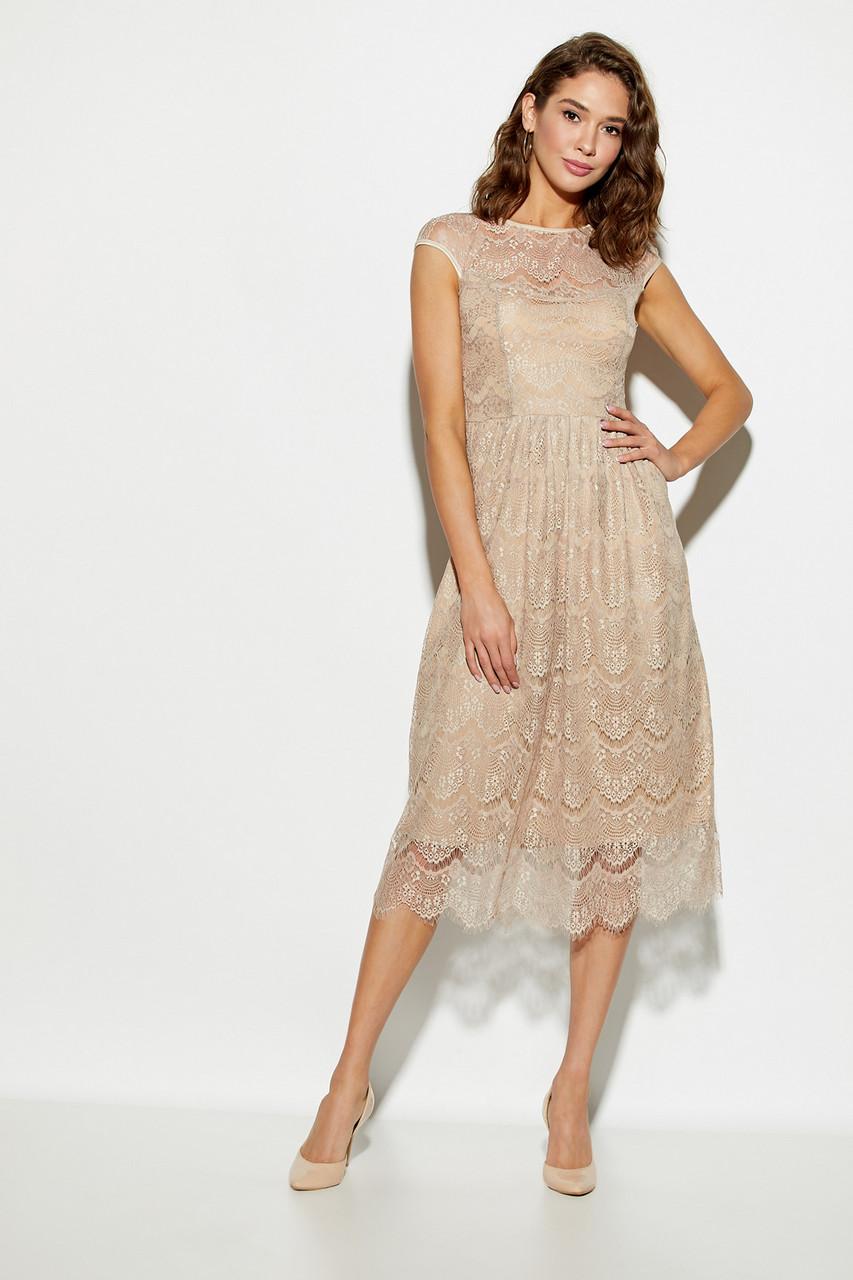 Жіноче ошатне плаття гіпюрову, бежеве, молодіжне, міді, святкове, елегантне