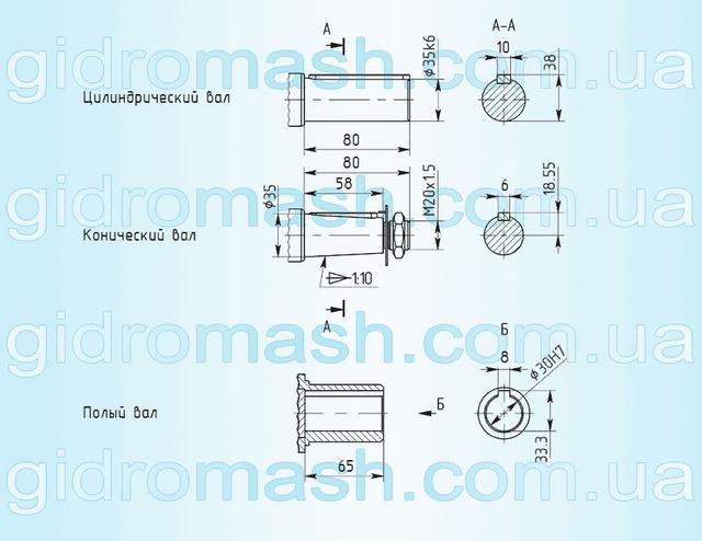 Размеры валов мотор-редуктора 3МП-40