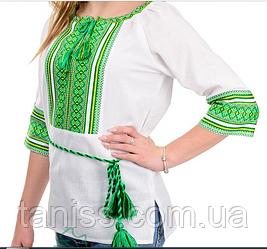 Ошатна жіноча вишиванка, блузка, машинна вишивка, тканина льон р. 42,44 зелений орнамент (012135)